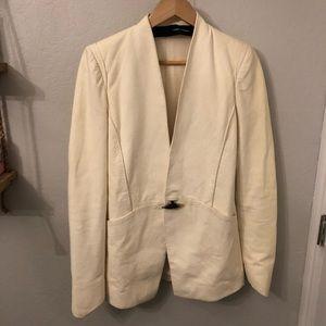 Distressed blazer top